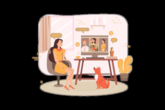 Business team doing video meeting Illustration
