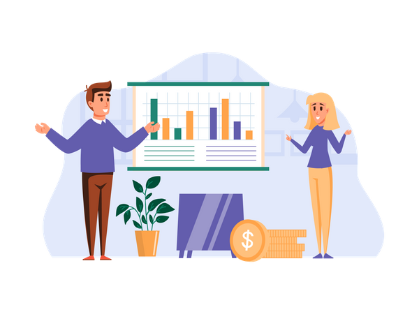 Business Team giving marketing growth Illustration
