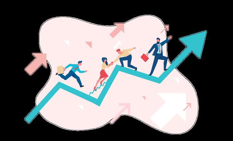 Business team going toward their goal Illustration