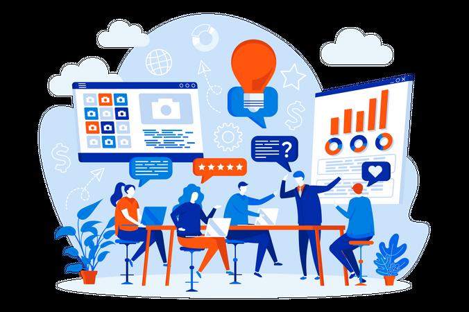 Business team meeting Illustration