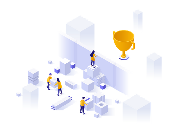Business team problem solving Illustration