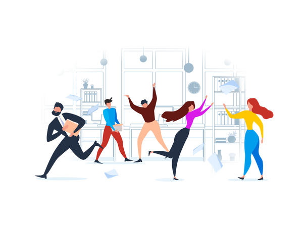 Business team working in office Illustration