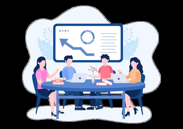 Business Team working on business plan Illustration