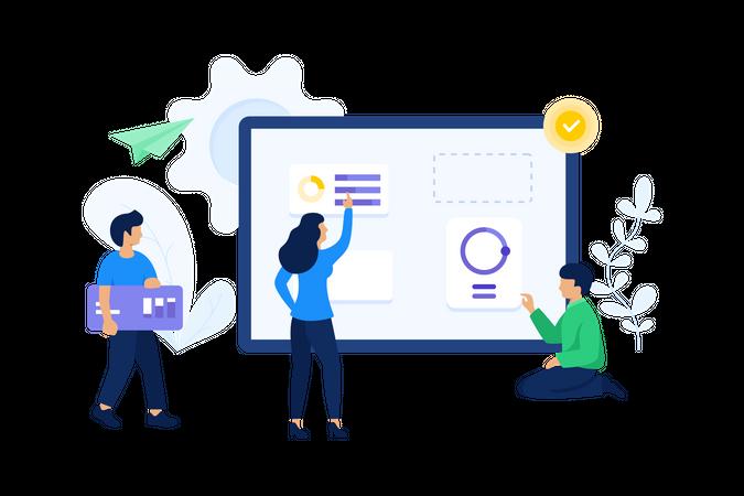 Business team working on data analysis Illustration
