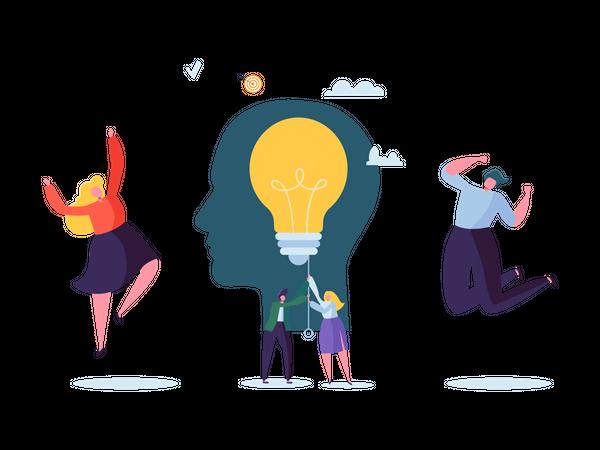 Business team working on innovative idea Illustration