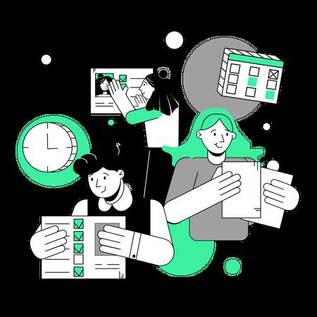 Business team working on marketing goals Illustration