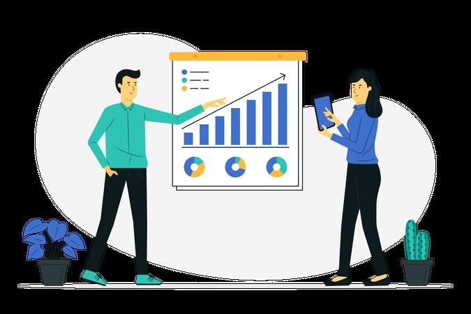 Business team working on marketing solution Illustration