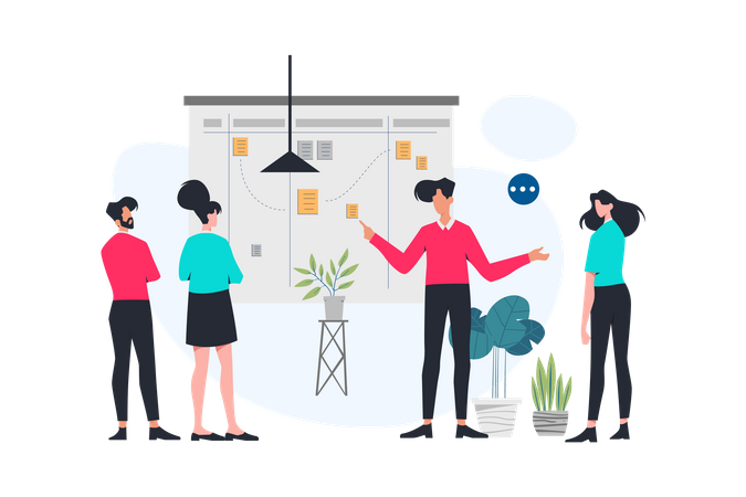 Business team working on Marketing Strategy Illustration