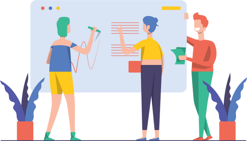 Business team working on project Illustration