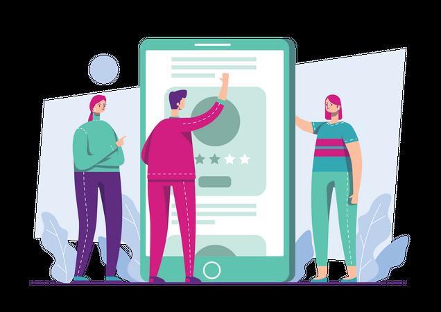 Business team working on social media marketing Illustration