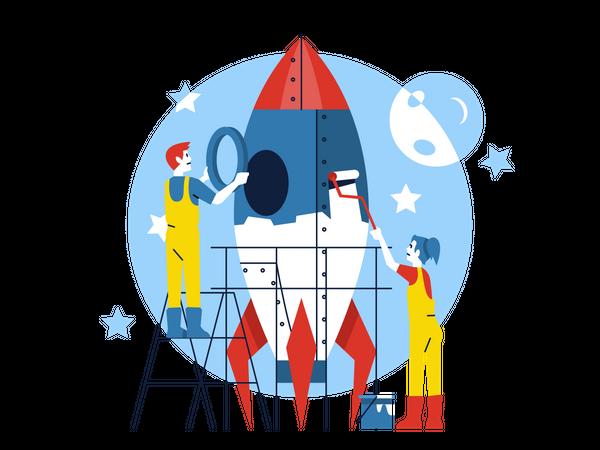 Business Team working on Startup Illustration