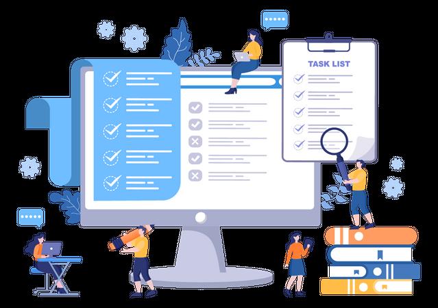 Business team working on task management Illustration