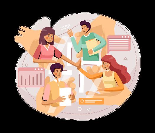 Business team working online Illustration