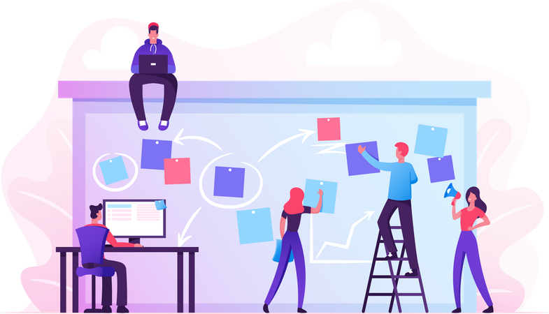 Business Team Working Planning and Scheduling Illustration