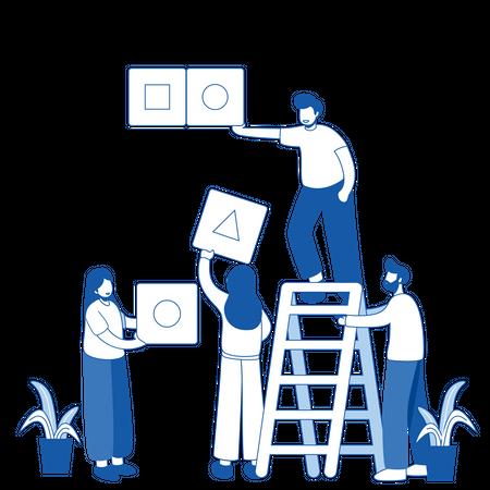 Business team working together Illustration