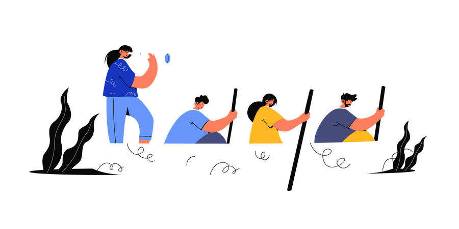 Business team working together on project Illustration