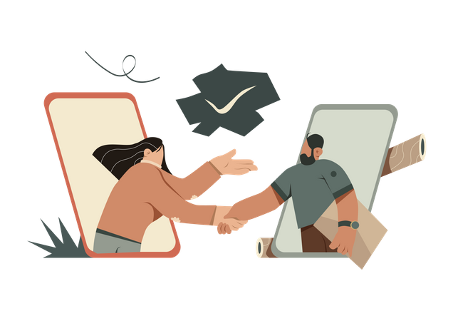 Business to Business communication Illustration