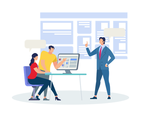 Business Trainer Explaining Information in Training room Illustration