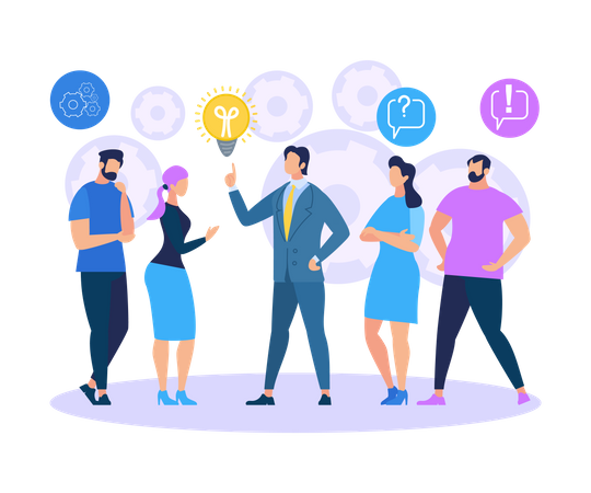 Business Training Sharing Ideas Illustration