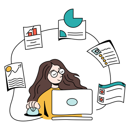 Business woman analyzing financial growth Illustration