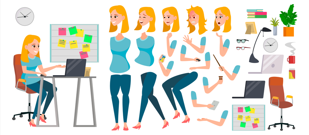 Business Woman Body Parts Illustration