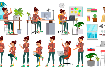 Business Woman Character Illustration Pack