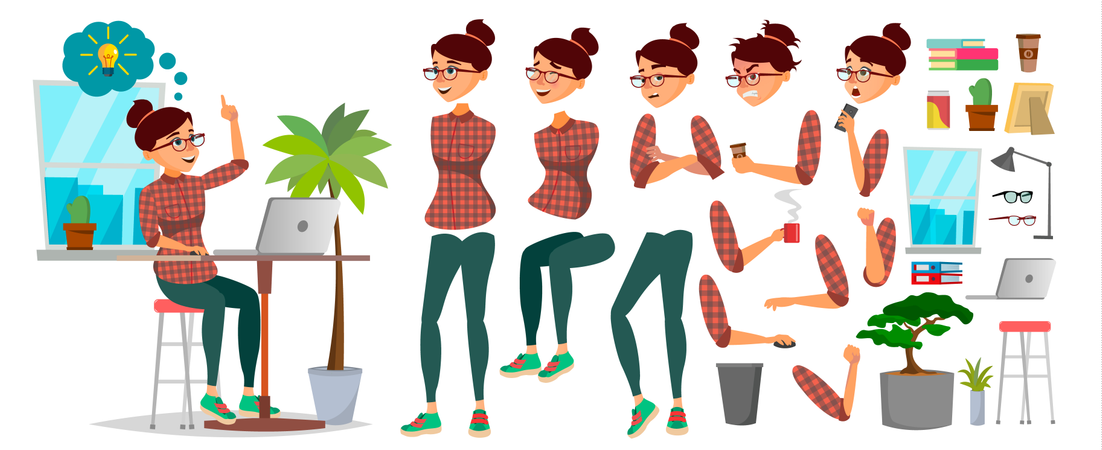 Business Woman Character Body Parts Illustration