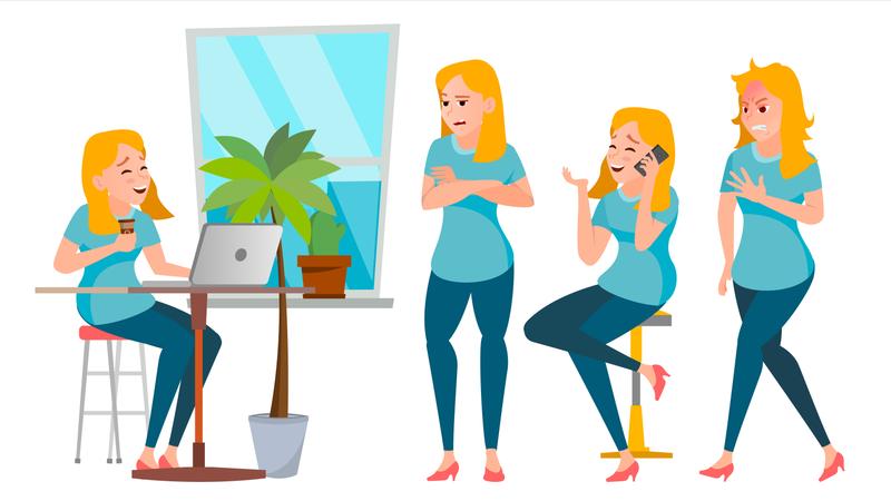 Business Woman Character Set Illustration