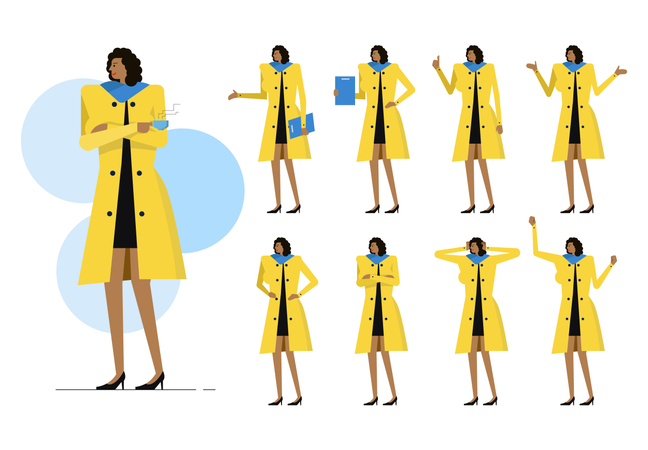 Business Woman Character With Different Action Illustration