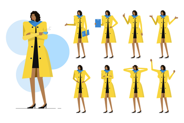 Business Woman Character Set Illustration Pack
