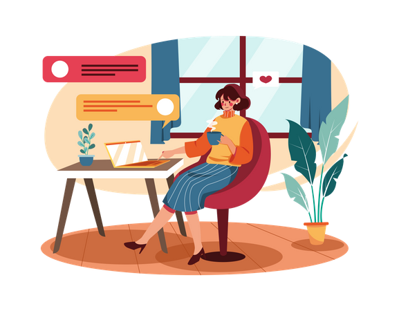 Business woman chatting on phone Illustration