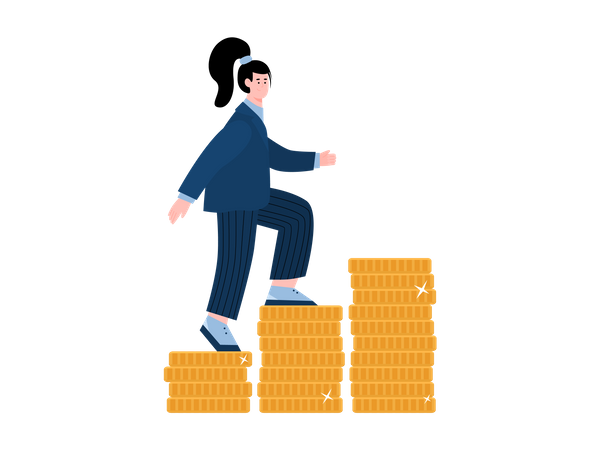 Business woman climbing up coins Illustration