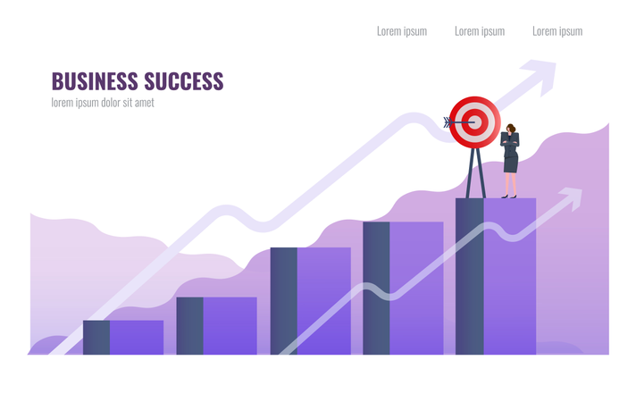 Business woman complete Business mission on  the top of graph Illustration