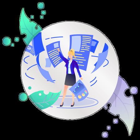 Business woman doing data analysis Illustration