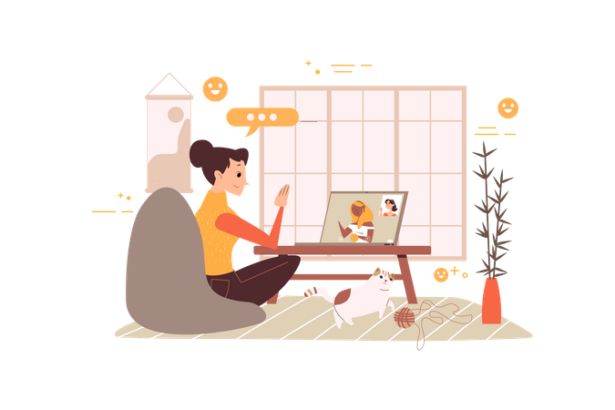 Business woman doing discussion on online meeting Illustration