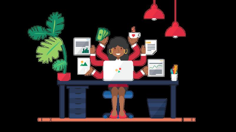 Business woman doing Multi tasking Illustration