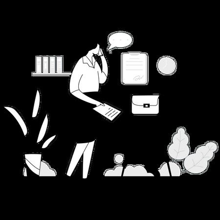 Business woman doing paperwork Illustration