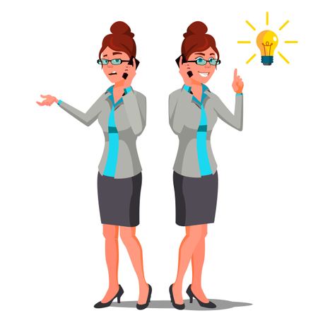 Business Woman Finding Problem Solution Illustration