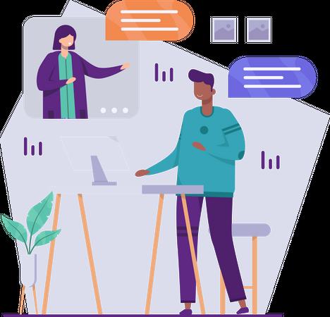 Business woman getting update on marketing data Illustration