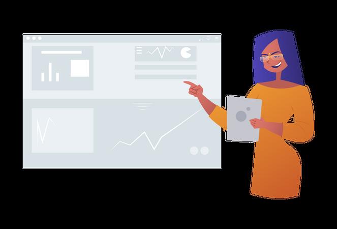 Business woman giving presentation Illustration