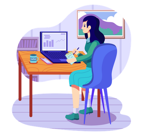 Business woman giving presentation in online meeting Illustration