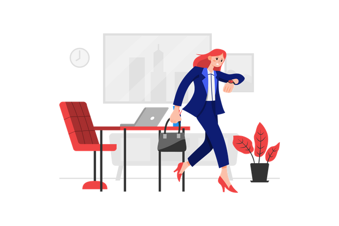 Business woman going for business meeting Illustration
