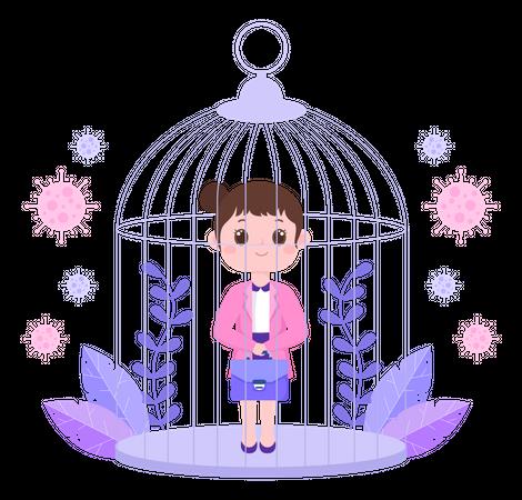 Business Woman In Lockdown Illustration
