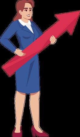 Business woman predicting future growth Illustration