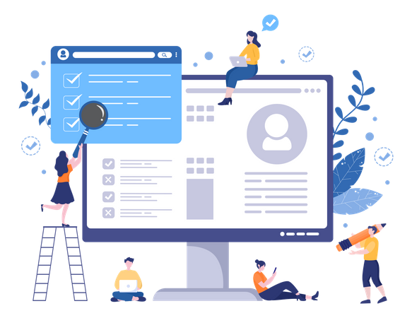 Business woman searching about task and profile Illustration