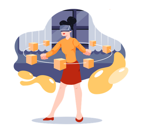 Business woman using VR glasses for analysis Illustration