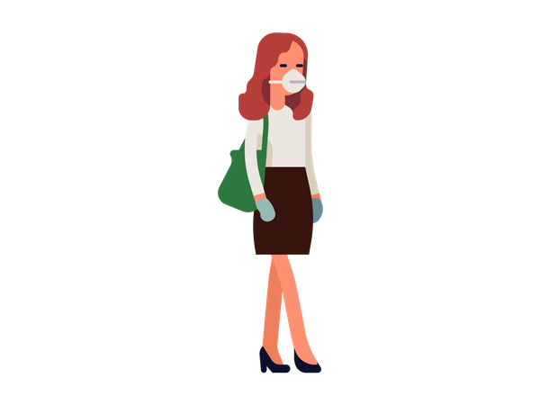 Business woman wearing face mask for safety Illustration