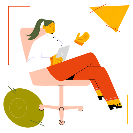Business woman working from home Illustration