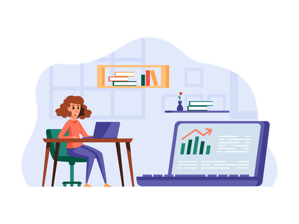 Business woman working in office Illustration