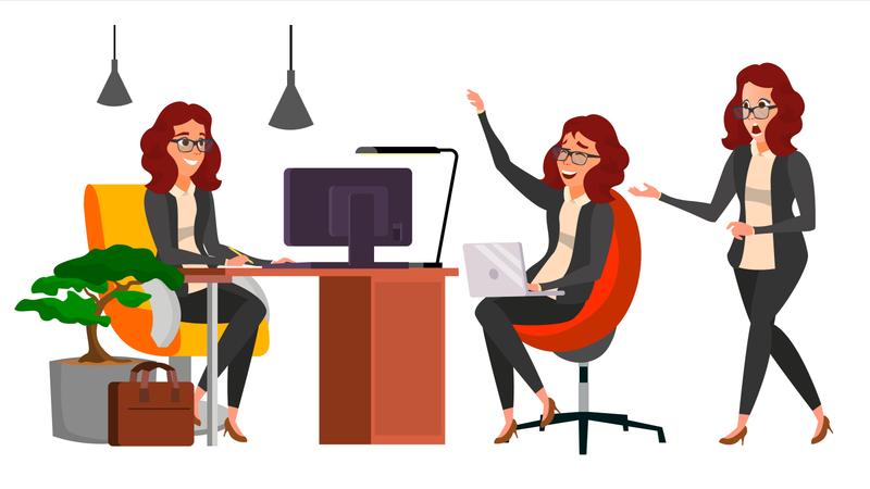 Business Woman Working On Desk Illustration